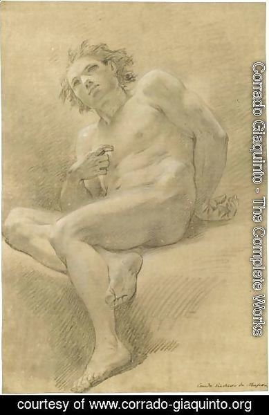 Corrado Giaquinto - Seated Male Nude